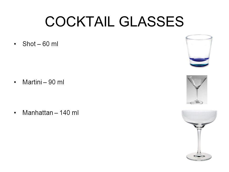 COCKTAIL GLASSES Shot – 60 ml Martini – 90 ml Manhattan – 140 ml