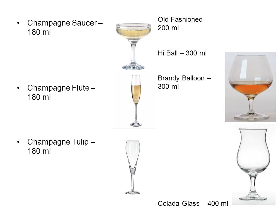 Champagne Saucer – 180 ml Champagne Flute – 180 ml Champagne Tulip – 180 ml Old Fashioned – 200 ml Hi Ball – 300 ml Brandy Balloon – 300 ml Colada Glass – 400 ml