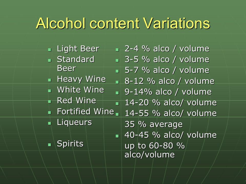 Alcohol content Variations Light Beer Light Beer Standard Beer Standard Beer Heavy Wine Heavy Wine White Wine White Wine Red Wine Red Wine Fortified Wine Fortified Wine Liqueurs Liqueurs Spirits Spirits 2-4 % alco / volume 2-4 % alco / volume 3-5 % alco / volume 3-5 % alco / volume 5-7 % alco / volume 5-7 % alco / volume 8-12 % alco / volume 8-12 % alco / volume 9-14% alco / volume 9-14% alco / volume 14-20 % alco/ volume 14-20 % alco/ volume 14-55 % alco/ volume 14-55 % alco/ volume 35 % average 40-45 % alco/ volume 40-45 % alco/ volume up to 60-80 % alco/volume up to 60-80 % alco/volume