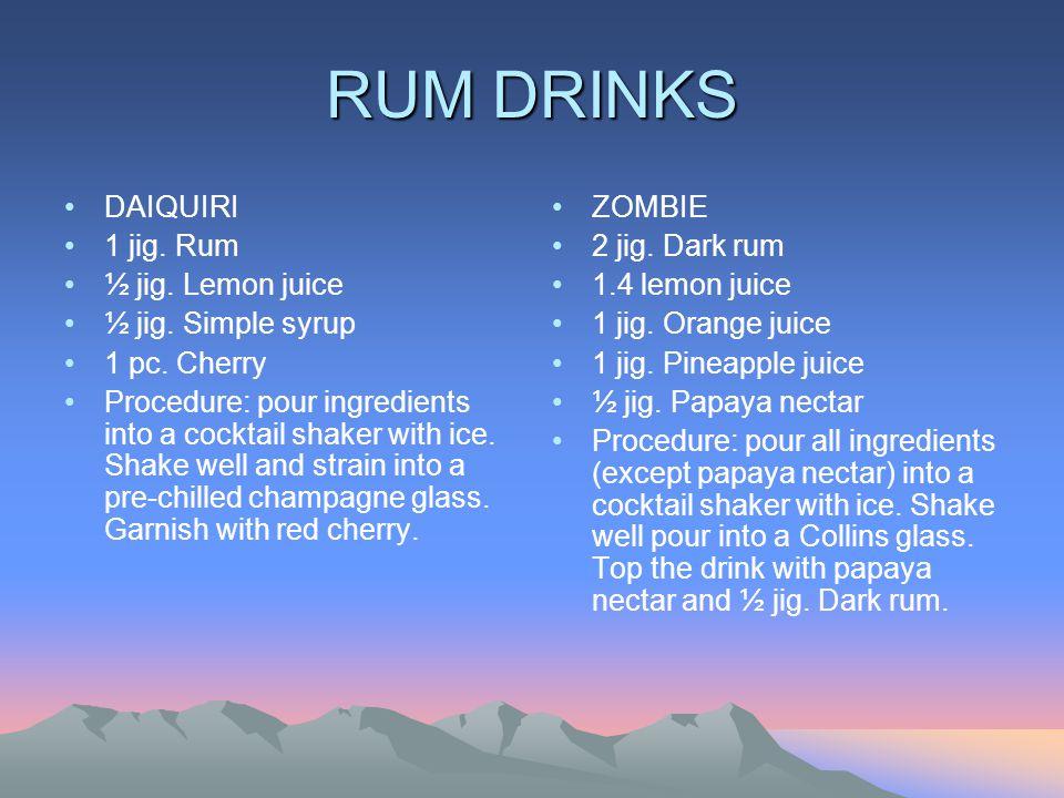 RUM DRINKS DAIQUIRI 1 jig.Rum ½ jig. Lemon juice ½ jig.
