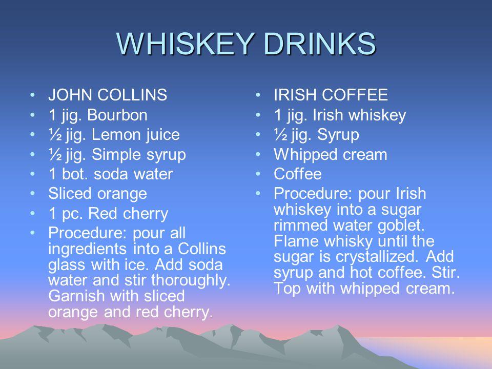 WHISKEY DRINKS JOHN COLLINS 1 jig.Bourbon ½ jig. Lemon juice ½ jig.