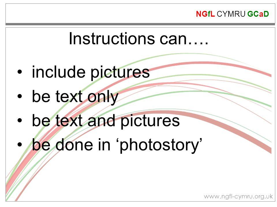 NGfL CYMRU GCaD www.ngfl-cymru.org.uk Instructions can….