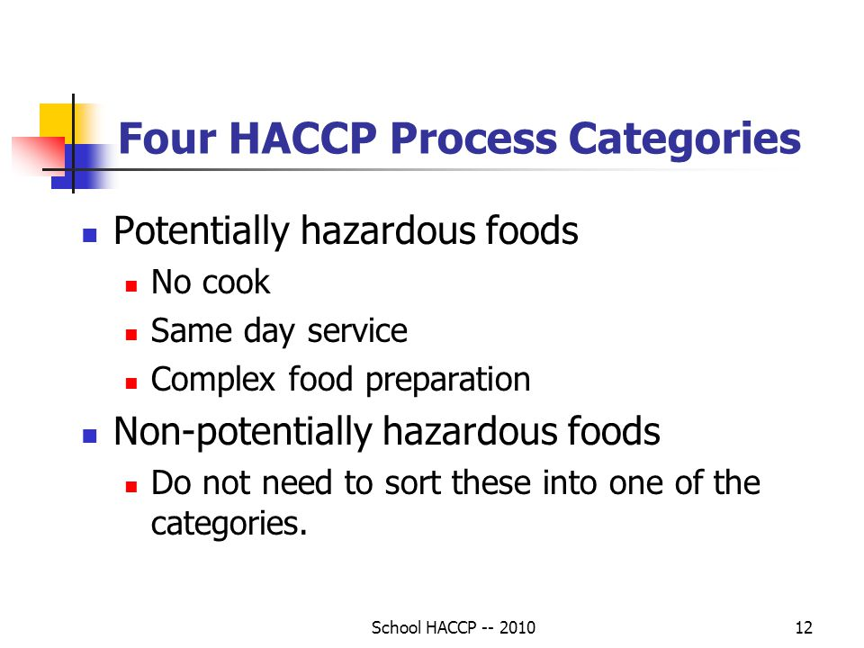School HACCP -- 201012 Four HACCP Process Categories Potentially hazardous foods No cook Same day service Complex food preparation Non-potentially hazardous foods Do not need to sort these into one of the categories.