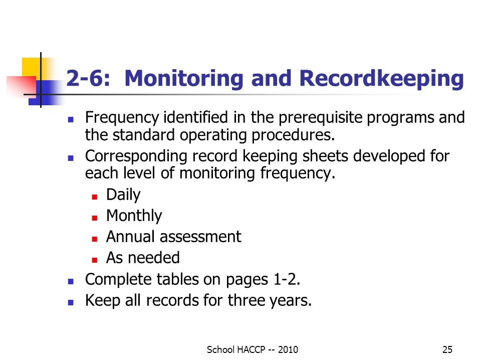 School HACCP -- 201025 2-6: Monitoring and Recordkeeping Frequency identified in the prerequisite programs and the standard operating procedures.