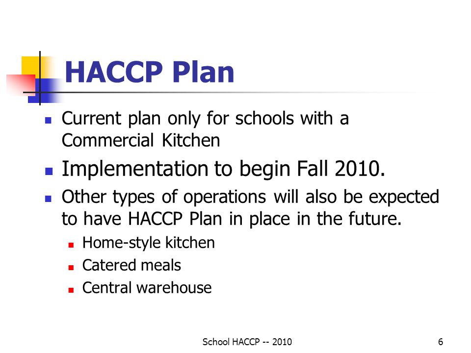 School HACCP -- 20106 HACCP Plan Current plan only for schools with a Commercial Kitchen Implementation to begin Fall 2010.