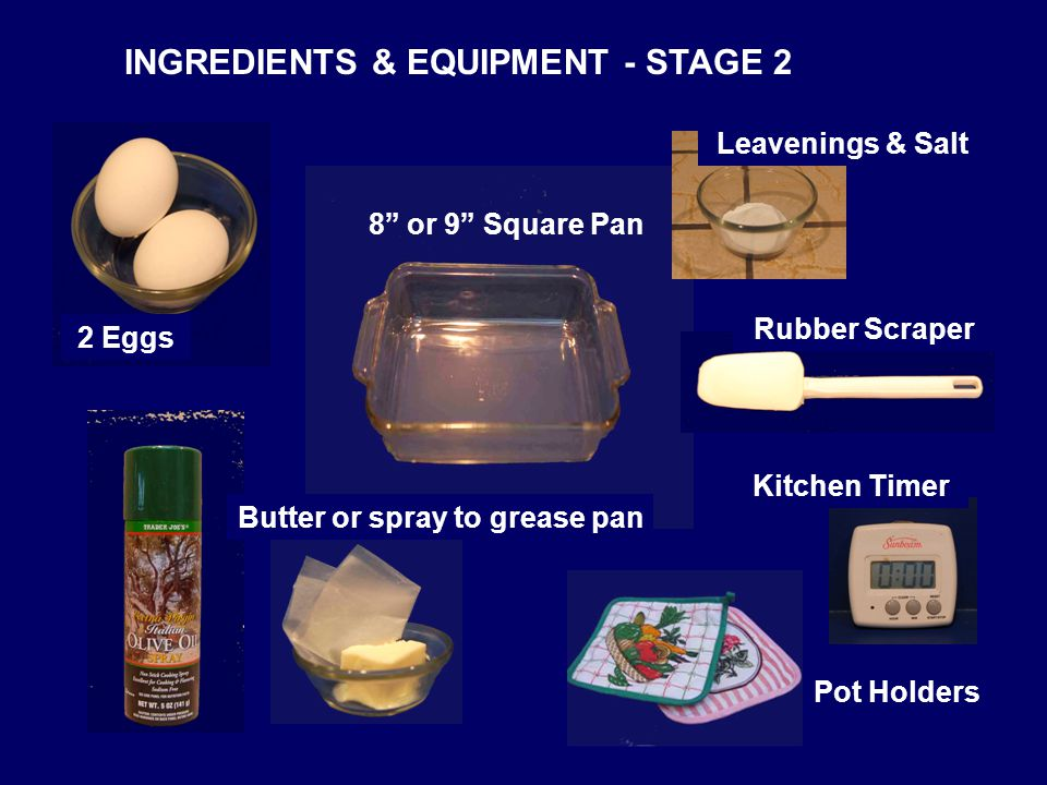 INGREDIENTS & EQUIPMENT - STAGE 2 Kitchen Timer 2 Eggs Butter or spray to grease pan 8 or 9 Square Pan Pot Holders Rubber Scraper Leavenings & Salt