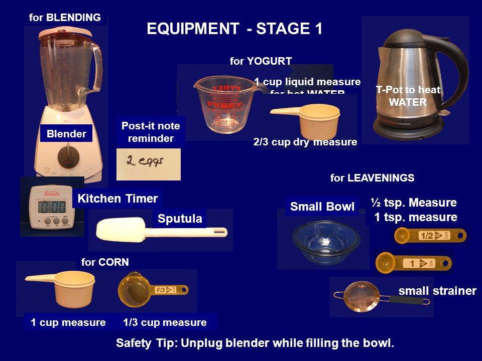 EQUIPMENT - STAGE 1 Blender T-Pot to heat WATER Safety Tip: Unplug blender while filling the bowl.