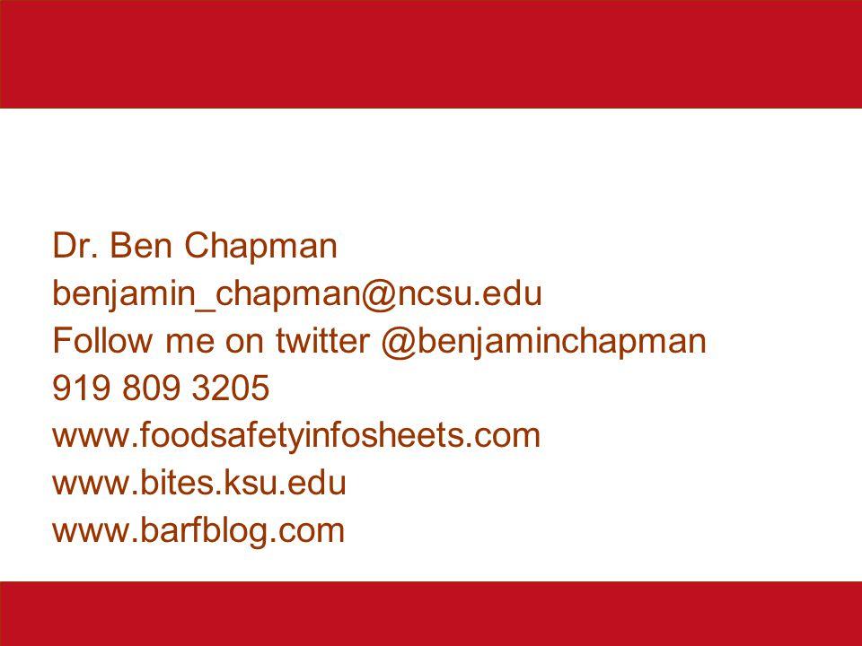 Dr. Ben Chapman benjamin_chapman@ncsu.edu Follow me on twitter @benjaminchapman 919 809 3205 www.foodsafetyinfosheets.com www.bites.ksu.edu www.barfbl