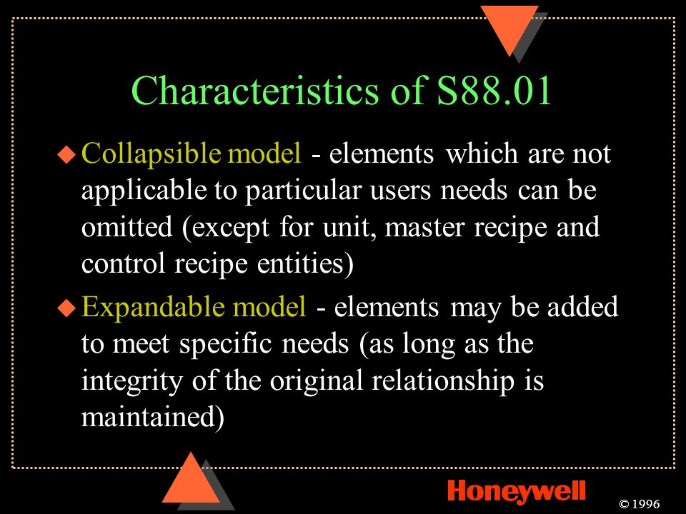 Characteristics of S88.01 © 1996 u Collapsible model - elements which are not applicable to particular users needs can be omitted (except for unit, ma