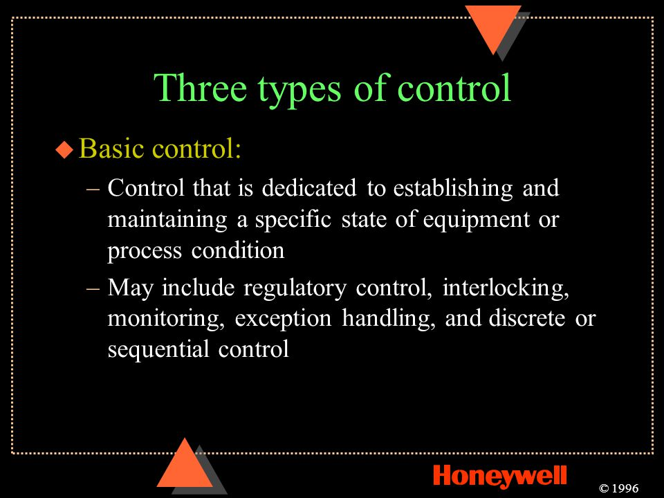 Three types of control u Basic control: –Control that is dedicated to establishing and maintaining a specific state of equipment or process condition