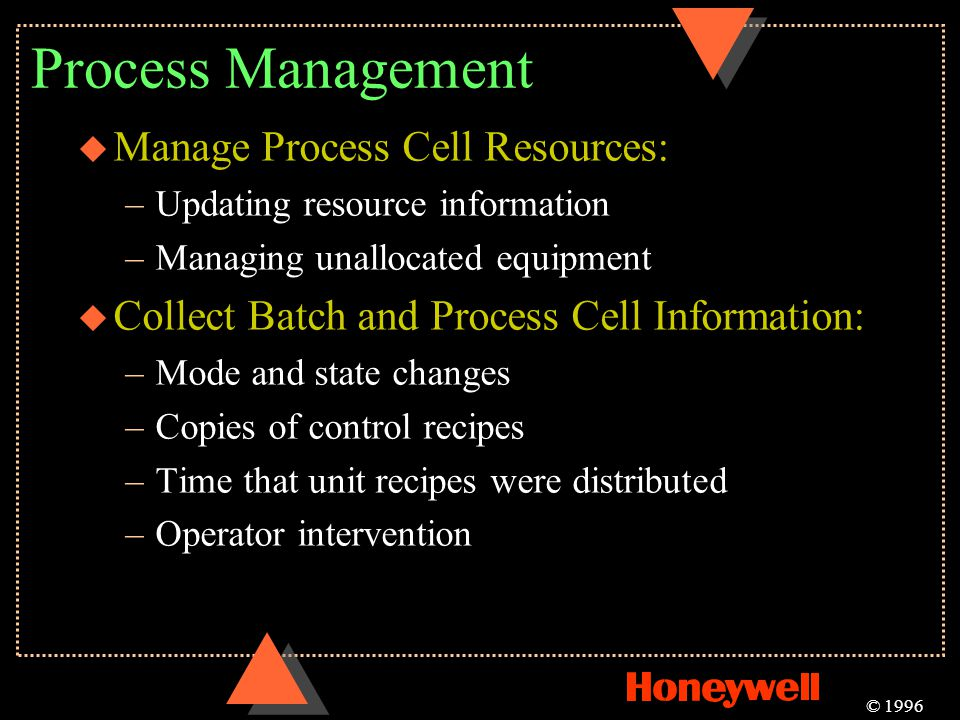 Process Management u Manage Process Cell Resources: –Updating resource information –Managing unallocated equipment u Collect Batch and Process Cell In