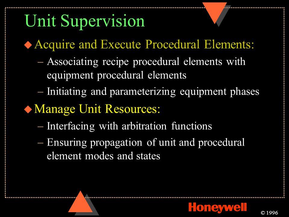 Unit Supervision u Acquire and Execute Procedural Elements: –Associating recipe procedural elements with equipment procedural elements –Initiating and