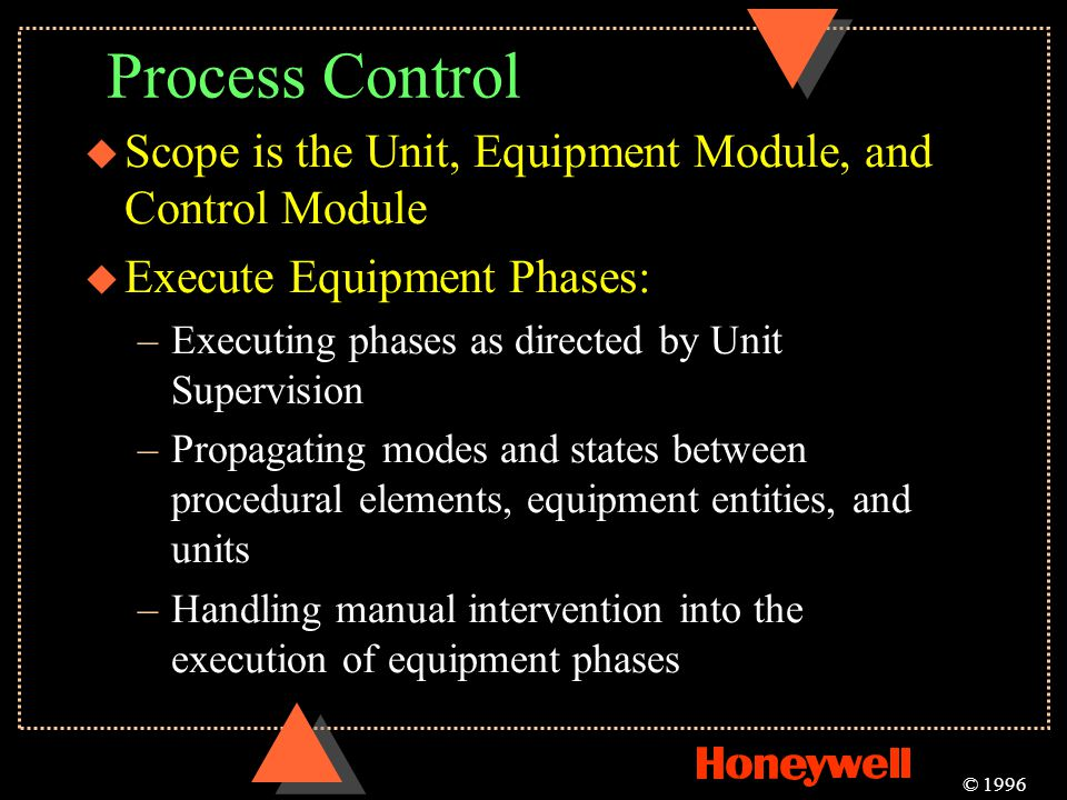 Process Control u Scope is the Unit, Equipment Module, and Control Module u Execute Equipment Phases: –Executing phases as directed by Unit Supervisio
