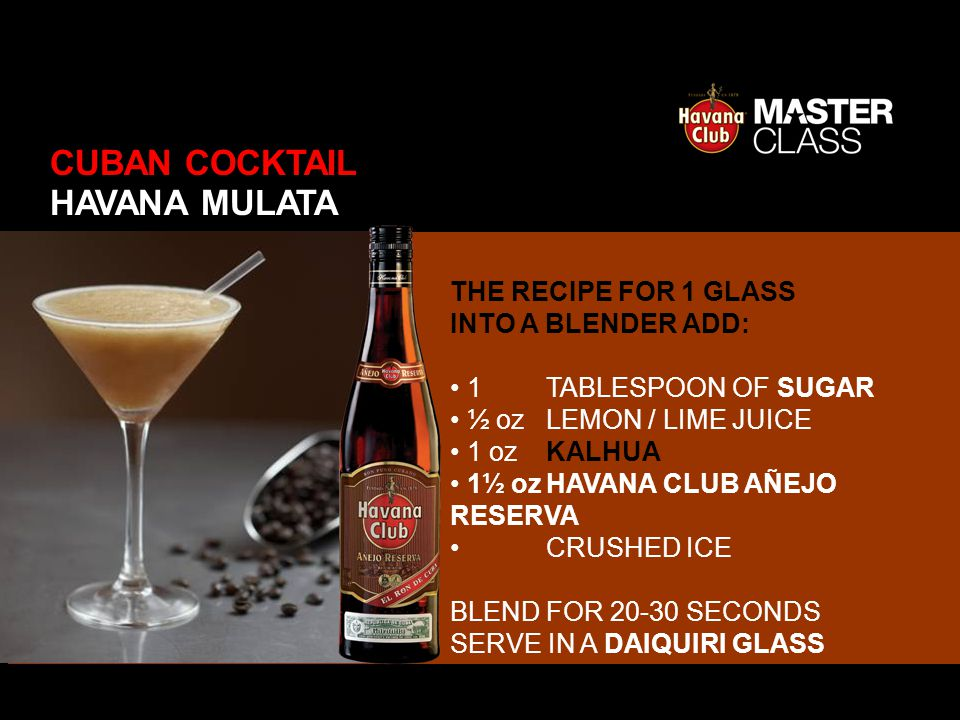 THE RECIPE FOR 1 GLASS INTO A BLENDER ADD: 1 TABLESPOON OF SUGAR ½ ozLEMON / LIME JUICE 1 ozKALHUA 1½ ozHAVANA CLUB AÑEJO RESERVA CRUSHED ICE BLEND FO