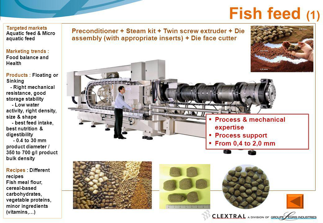 02/06/2014 Fish feed (1) Targeted markets Aquatic feed & Micro aquatic feed Marketing trends : Food balance and Health Products : Floating or Sinking