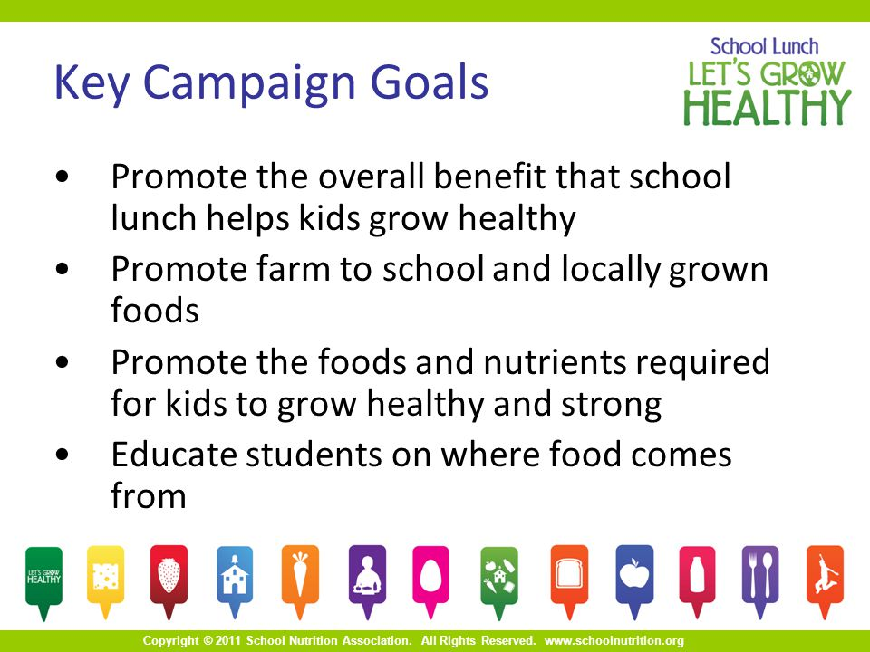 Copyright © 2011 School Nutrition Association. All Rights Reserved. www.schoolnutrition.org Key Campaign Goals Promote the overall benefit that school