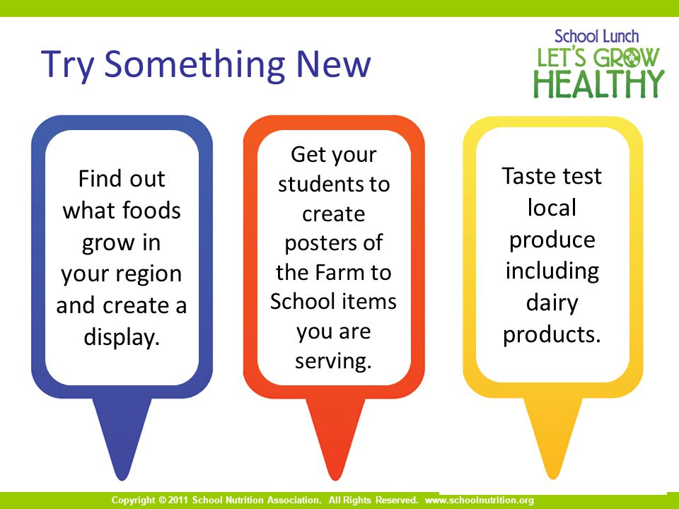Copyright © 2011 School Nutrition Association. All Rights Reserved. www.schoolnutrition.org Try Something New Taste test local produce including dairy