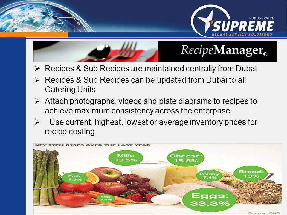 Recipes & Sub Recipes are maintained centrally from Dubai.