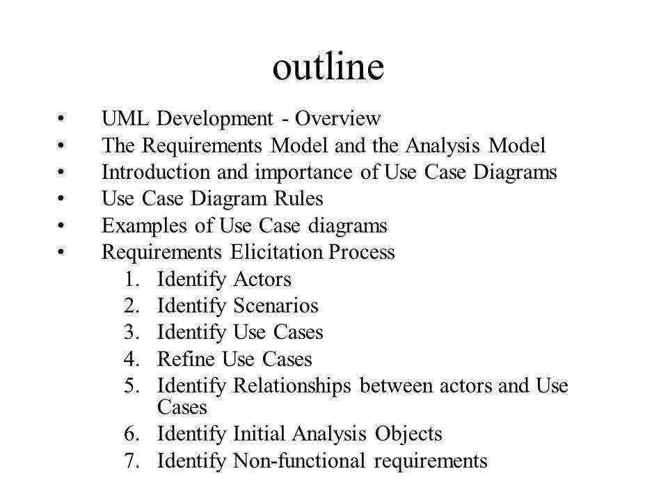 UML Development - Overview PROGRAM ACTORS ANALYSIS Specify Domain Objects Detailed DESIGN IMPLEMENTATION D A T A D I C T I O N A R Y Time USE CASES ANALYSIS CLASS DIAGRAM(S) IMPLEMENTATION Activity DIAGRAMS SEQUENCE DIAGRAMS OPERATION CONTRACTS StateChart DIAGRAMs DEPLOYMENT DIAGRAM SUBSYSTEM CLASS/ OR COMPONENT DIAGRAMS Architectural Design Include Design Objects Object Design SCENARIOS REQUIREMENTS ELICITATION DESIGN DIAGRAMS IMPLEMENTATION CHOICES DESIGN SEQUENCE DIAG.