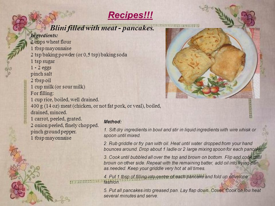 Recipes!!. Blini filled with meat - pancakes.
