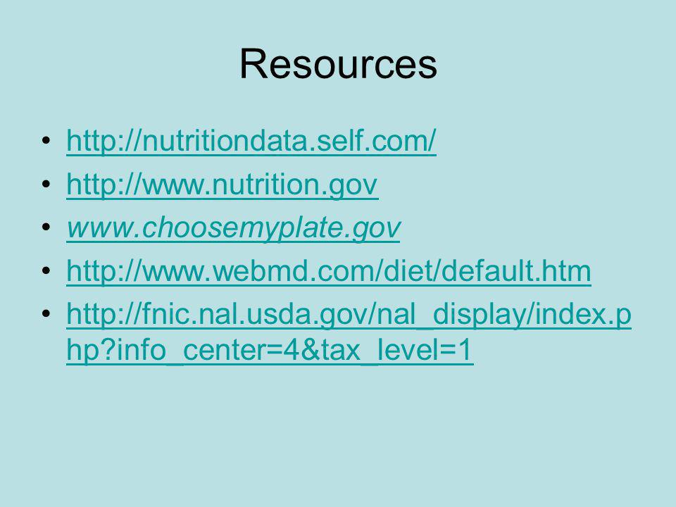 Resources http://nutritiondata.self.com/ http://www.nutrition.gov www.choosemyplate.gov http://www.webmd.com/diet/default.htm http://fnic.nal.usda.gov/nal_display/index.p hp info_center=4&tax_level=1http://fnic.nal.usda.gov/nal_display/index.p hp info_center=4&tax_level=1