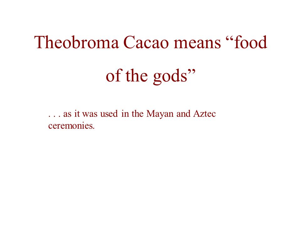 Theobroma Cacao means food of the gods... as it was used in the Mayan and Aztec ceremonies.