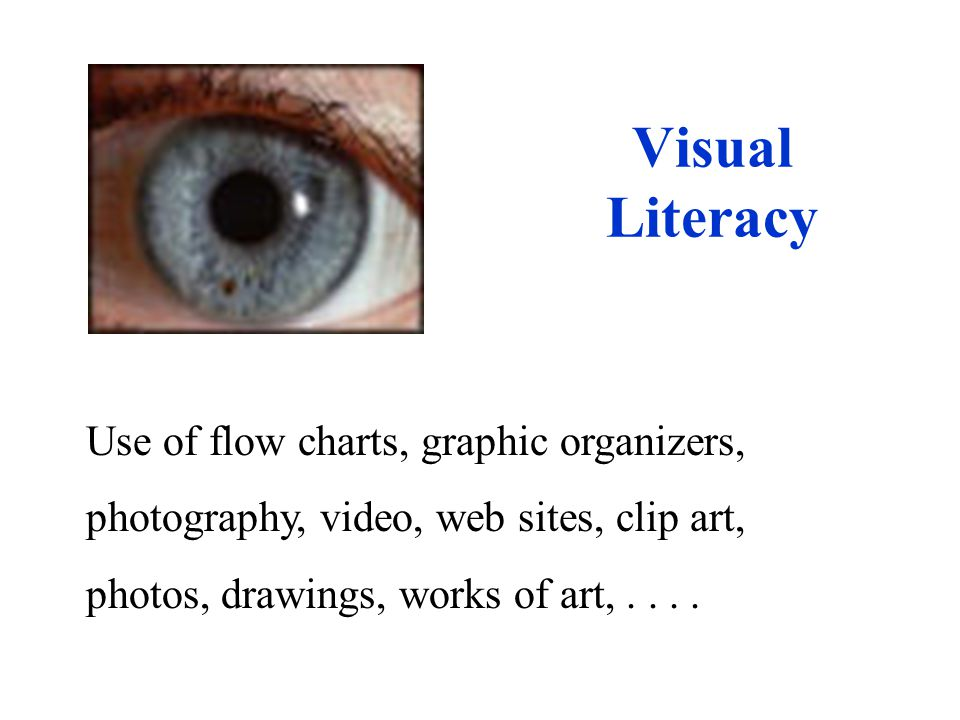Visual Literacy Use of flow charts, graphic organizers, photography, video, web sites, clip art, photos, drawings, works of art,....