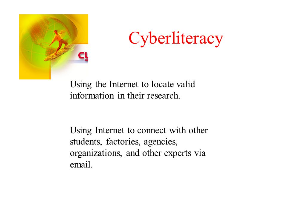 Cyberliteracy Using the Internet to locate valid information in their research.