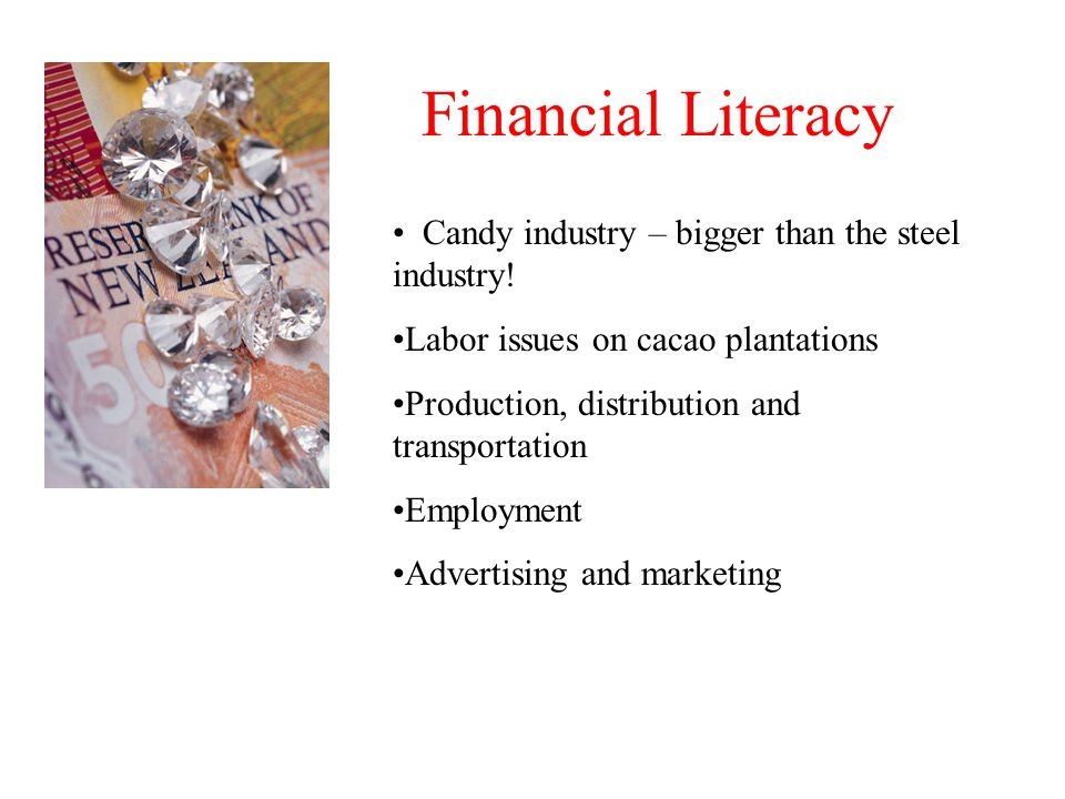 Financial Literacy Candy industry – bigger than the steel industry.