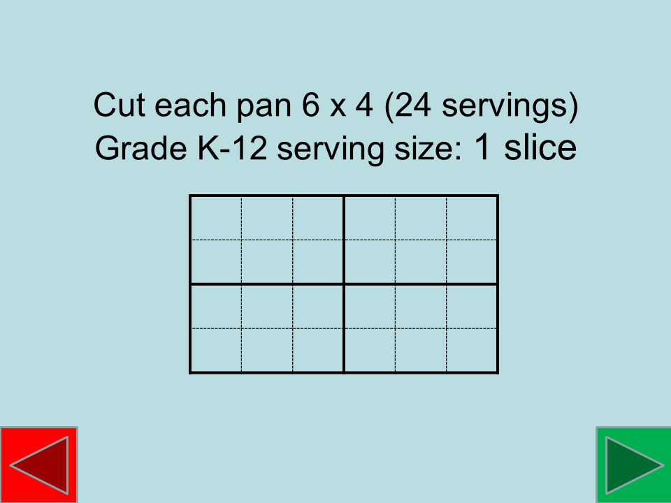 Cut each pan 6 x 4 (24 servings) Grade K-12 serving size: 1 slice