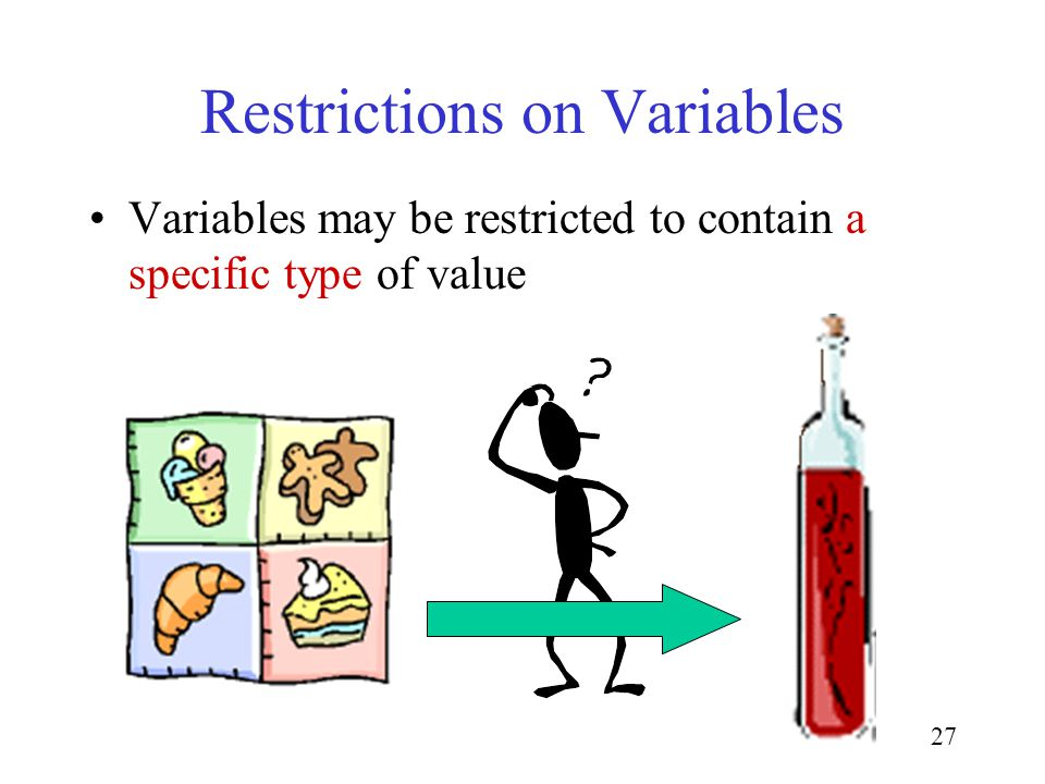 27 Restrictions on Variables Variables may be restricted to contain a specific type of value