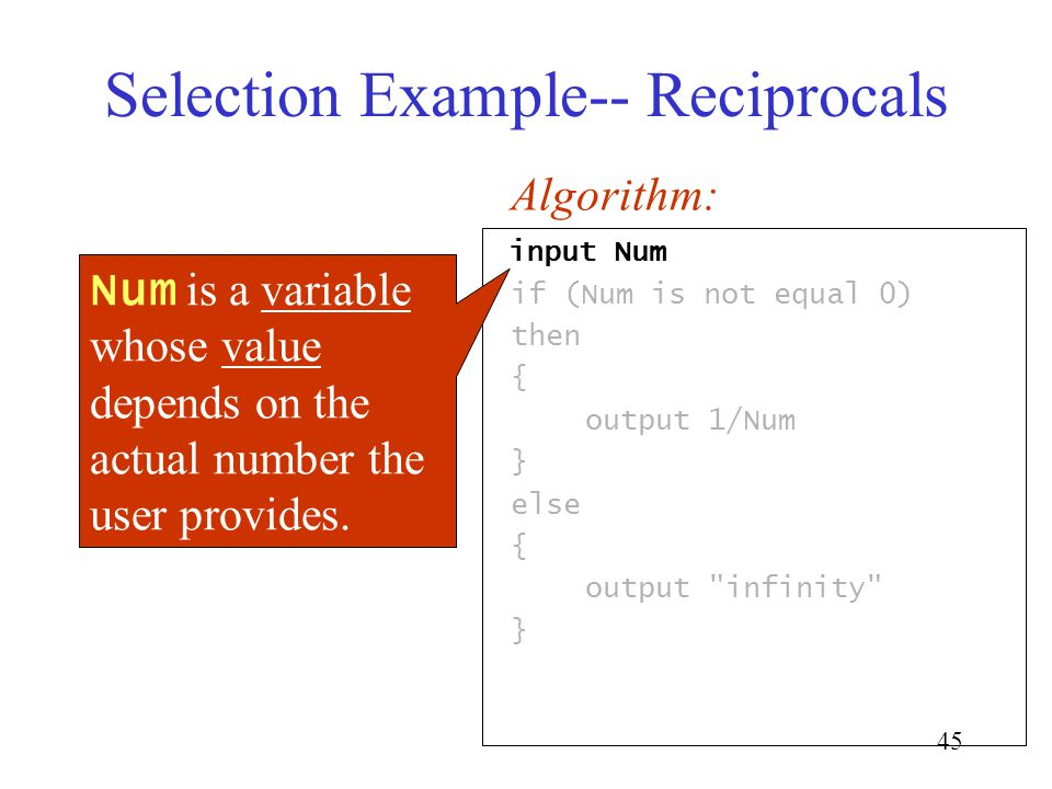 45 Selection Example-- Reciprocals input Num if (Num is not equal 0) then { output 1/Num } else { output infinity } Algorithm: Num is a variable whose value depends on the actual number the user provides.