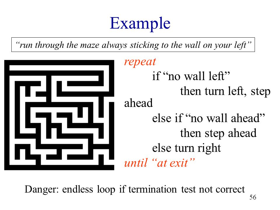 56 Example repeat if no wall left then turn left, step ahead else if no wall ahead then step ahead else turn right until at exit run through the maze