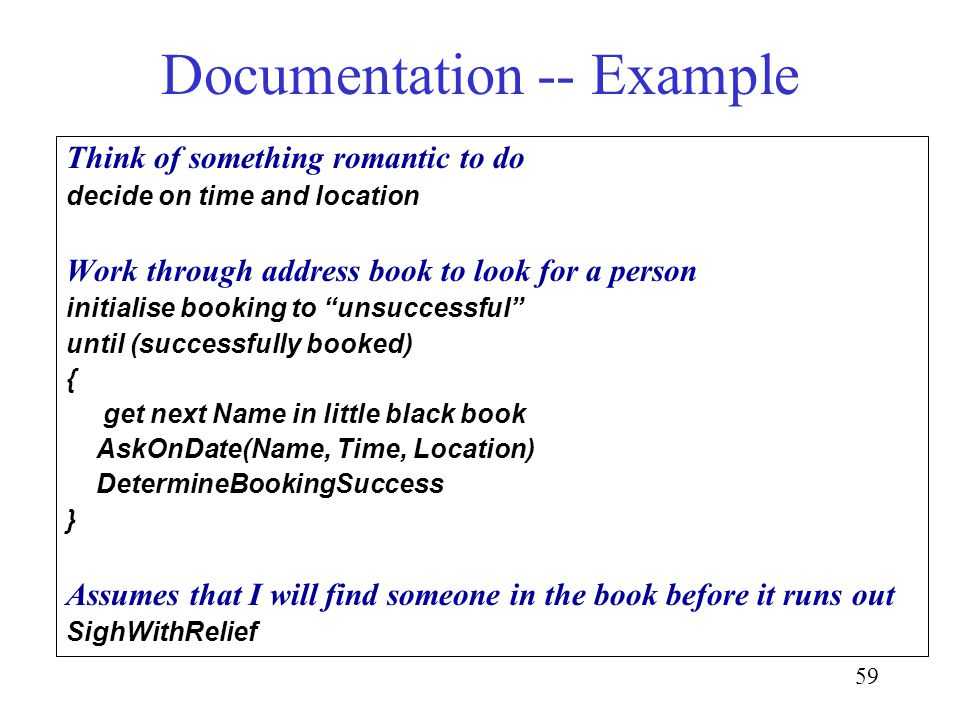 59 Documentation -- Example Think of something romantic to do decide on time and location Work through address book to look for a person initialise bo