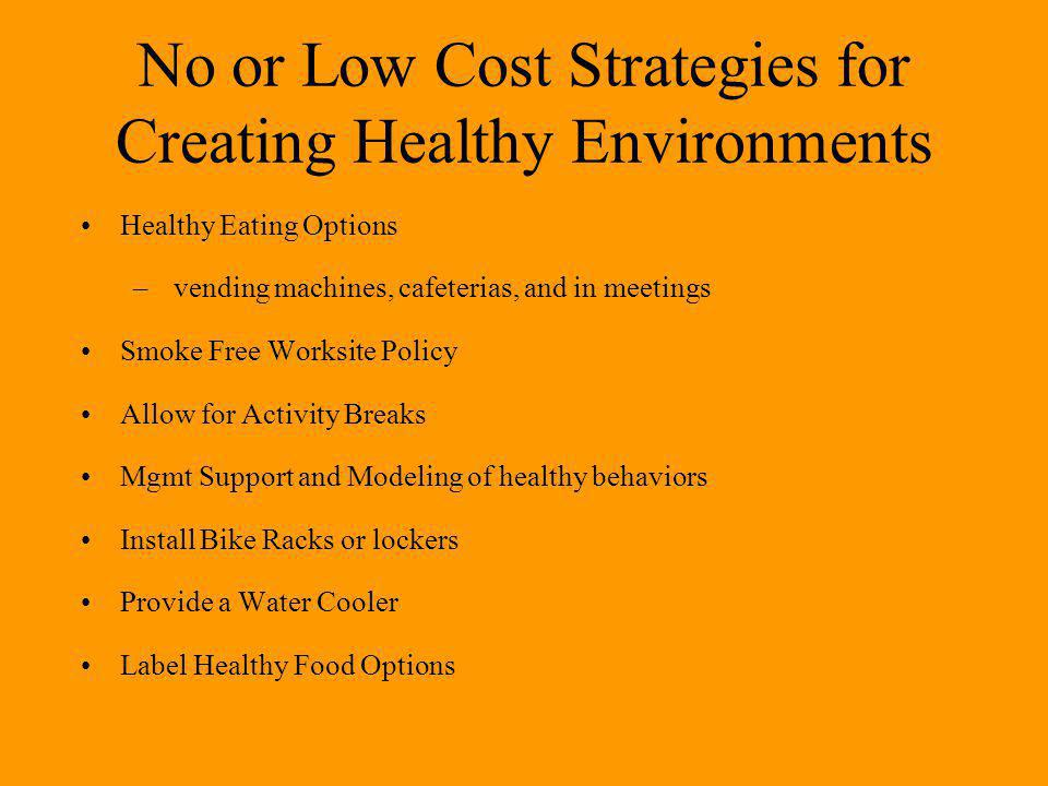 No or Low Cost Strategies for Creating Healthy Environments Healthy Eating Options – vending machines, cafeterias, and in meetings Smoke Free Worksite Policy Allow for Activity Breaks Mgmt Support and Modeling of healthy behaviors Install Bike Racks or lockers Provide a Water Cooler Label Healthy Food Options