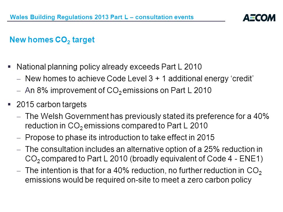 New homes CO 2 target National planning policy already exceeds Part L 2010 New homes to achieve Code Level 3 + 1 additional energy credit An 8% improvement of CO 2 emissions on Part L 2010 2015 carbon targets The Welsh Government has previously stated its preference for a 40% reduction in CO 2 emissions compared to Part L 2010 Propose to phase its introduction to take effect in 2015 The consultation includes an alternative option of a 25% reduction in CO 2 compared to Part L 2010 (broadly equivalent of Code 4 - ENE1) The intention is that for a 40% reduction, no further reduction in CO 2 emissions would be required on-site to meet a zero carbon policy Wales Building Regulations 2013 Part L – consultation events
