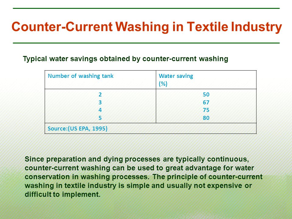Counter-Current Washing in Textile Industry Typical water savings obtained by counter-current washing Number of washing tankWater saving (%) 23452345
