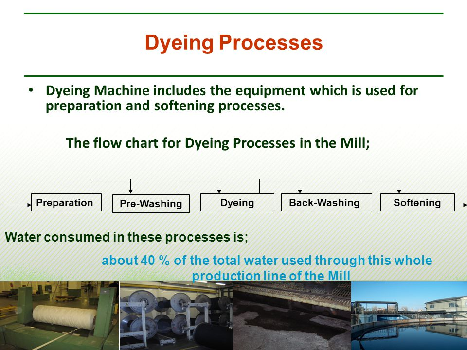 Dyeing Processes Dyeing Machine includes the equipment which is used for preparation and softening processes. The flow chart for Dyeing Processes in t