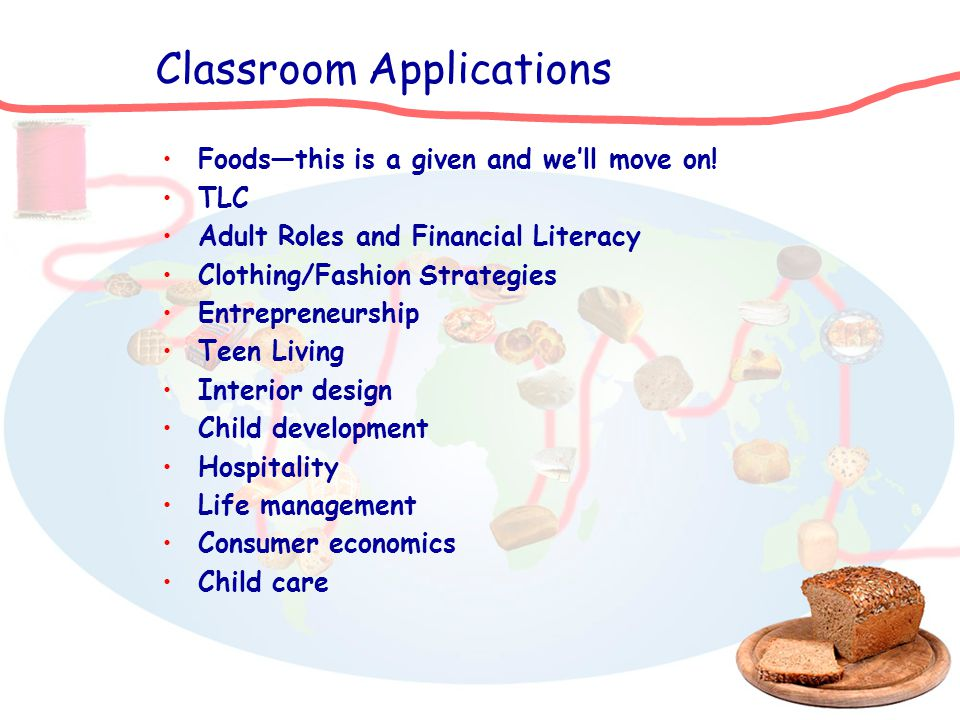 Classroom Applications Foodsthis is a given and well move on! TLC Adult Roles and Financial Literacy Clothing/Fashion Strategies Entrepreneurship Teen