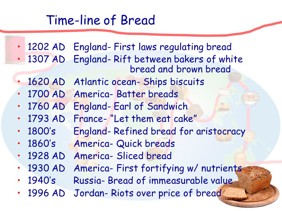 Time-line of Bread 1202 ADEngland- First laws regulating bread 1307 ADEngland- Rift between bakers of white bread and brown bread 1620 ADAtlantic ocea