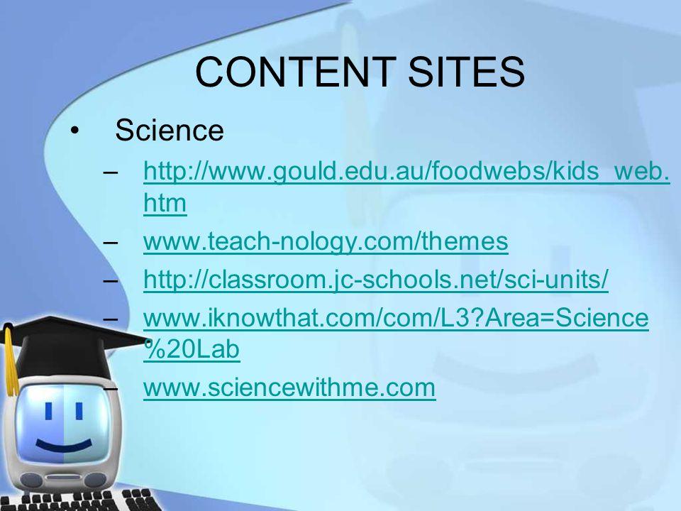 CONTENT SITES Science –http://www.gould.edu.au/foodwebs/kids_web. htmhttp://www.gould.edu.au/foodwebs/kids_web. htm –www.teach-nology.com/themeswww.te