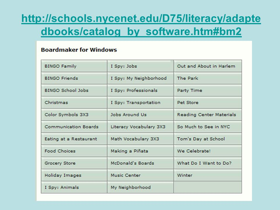 http://schools.nycenet.edu/D75/literacy/adapte dbooks/catalog_by_software.htm#bm2