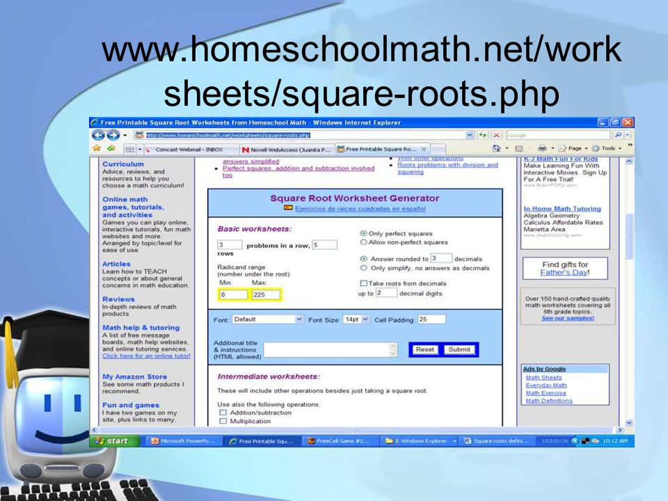 www.homeschoolmath.net/work sheets/square-roots.php