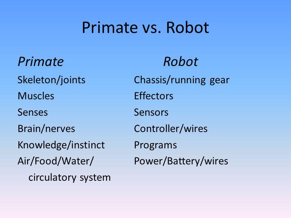 Primate vs. Robot PrimateRobot Skeleton/jointsChassis/running gear MusclesEffectors SensesSensors Brain/nervesController/wires Knowledge/instinctProgr