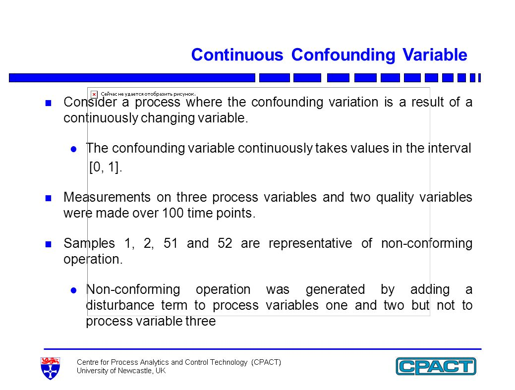 Continuous Confounding Variable n Consider a process where the confounding variation is a result of a continuously changing variable.