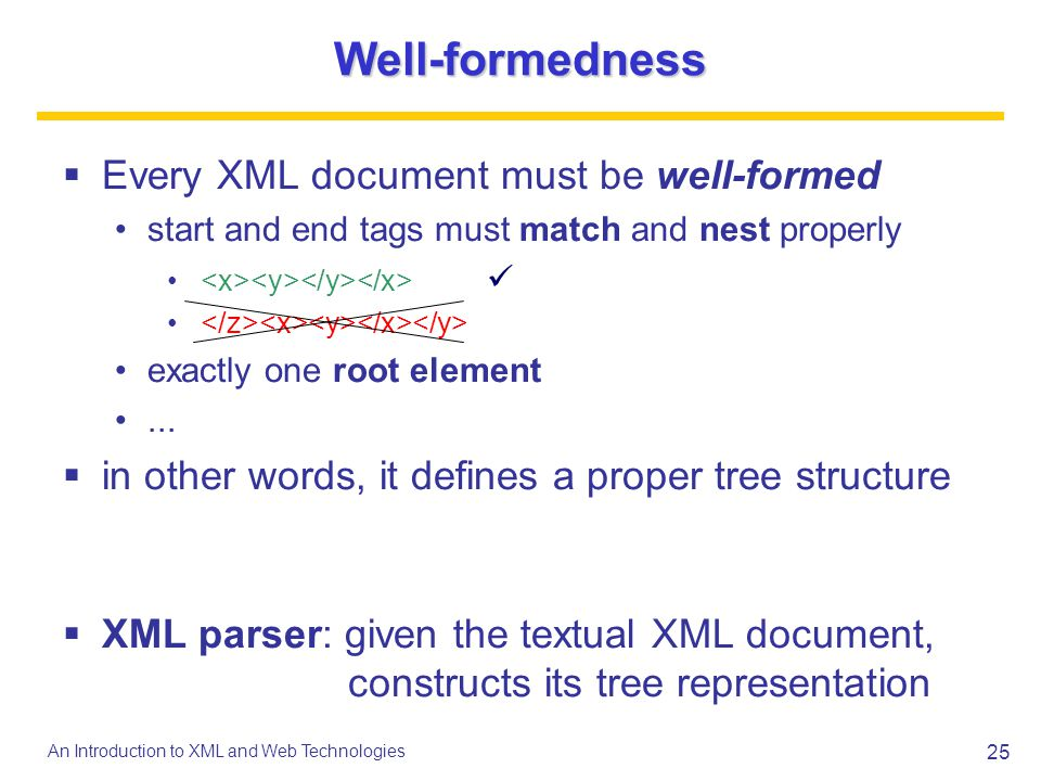 25 An Introduction to XML and Web Technologies Well-formedness Every XML document must be well-formed start and end tags must match and nest properly