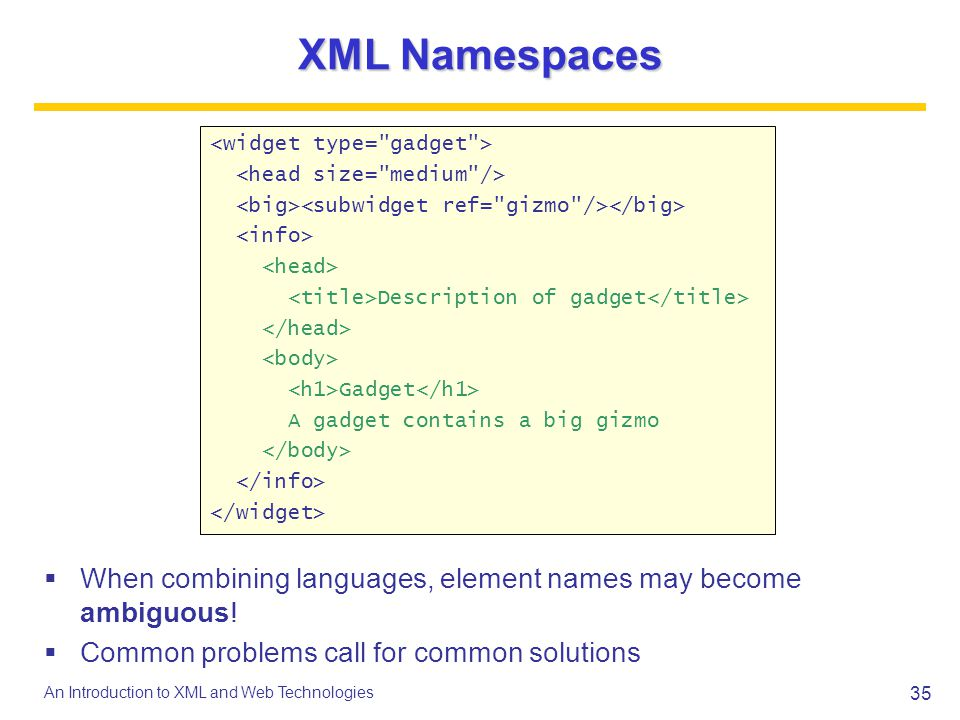 35 An Introduction to XML and Web Technologies XML Namespaces When combining languages, element names may become ambiguous! Common problems call for c