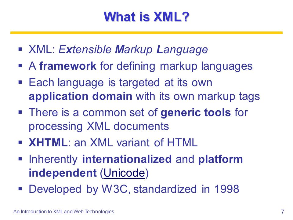 8 An Introduction to XML and Web Technologies Recipes in XML Define our own Recipe Markup Language Choose markup tags that correspond to concepts in this application domain recipe, ingredient, amount,...