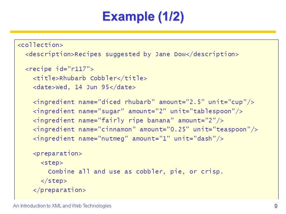 30 An Introduction to XML and Web Technologies Example: CML a1 a2 a3 a4 a5 a6 C O H H H H -0.748 0.558...