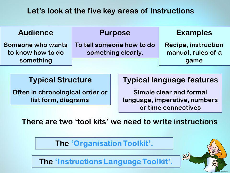 Lets look at the five key areas of instructions The Organisation Toolkit. The Instructions Language Toolkit. There are two tool kits we need to write